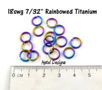 """Rainbowed Anodized Titanium Jump Rings 18 Gauge 7/32"""" id."""