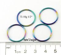 """Rainbowed Anodized Titanium Jump Rings 18 Gauge 1/2"""" id."""