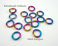 "Anodized Niobium Jump Rings 18 Gauge 1/4"" id."