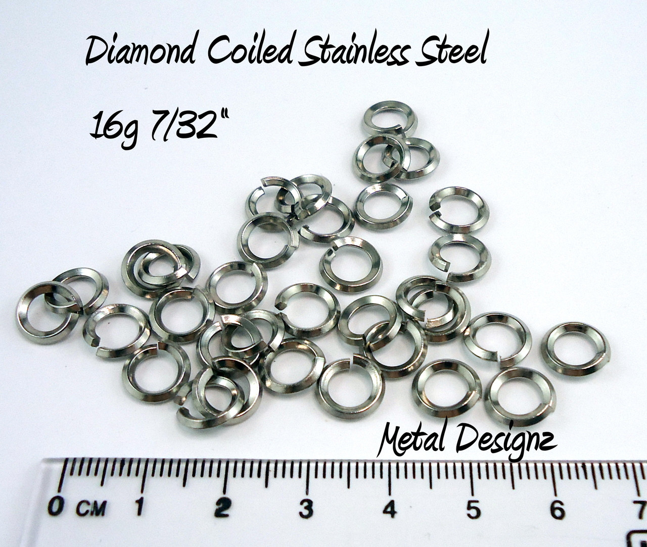 Diamond Coiled Stainless Steel 16g 7/32\