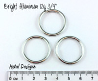 "Bright Aluminum Jump Rings 12 gauge 3/4"" id"