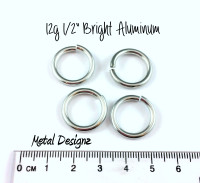 "Bright Aluminum Jump Rings 12 gauge 1/2"" id"