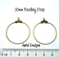 Antiqued Gold Beading Hoops - 30mm - Bag of 20