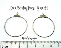 Gunmetal Beading Hoops - 30mm - Bag of 20
