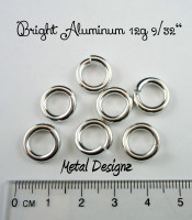 "Bright Aluminum  12g 9/32"" Jump Rings - Saw Cut Premium Jump Rings"