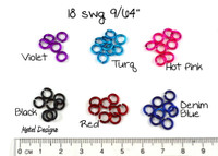 New Anodized Aluminum Jump Rings 18 Gauge 9/64""