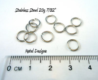"Stainless Steel Jump Rings 20 Gauge 7/32"" id."