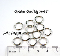 "Stainless Steel Jump Rings 18 Gauge 19/64"" id."
