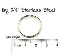 """Stainless Steel Jump Rings 16 Gauge 3/4"""" id - Bag of 10 rings"""