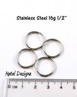 "Stainless Steel Jump Rings 16 Gauge 1/2"" id."