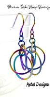Rainbow Titanium Triple Hoop Earrings
