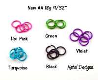 New Anodized Aluminum Jump Rings 18 Gauge 9/32""