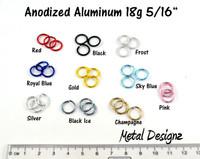 """Anodized Aluminum Jump Rings 18 Gauge 5/16"""""""