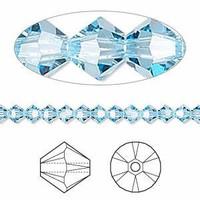 Swarovski Crystal, 4mm  bicone (48pk), Aquamarine
