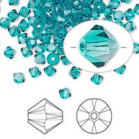 Swarovski Crystal, 4mm  bicone (48pk), Blue Ziron