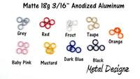 """Anodized Aluminum Jump Rings 18 Gauge 3/16"""" - Matte Colours"""