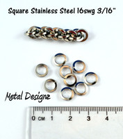 """Square Wire Stainless Steel Jump Rings 16 gauge 3/16"""" ID"""