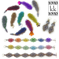 Mermaid Tail & Diamond Dragonscale Bracelet & Earring Kits - Karen Karon - Kit Only - No Tutorial Included