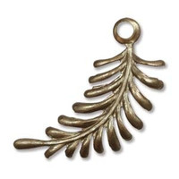 30X12MM FERN CURVING RIGHT VINTAJ BRASS