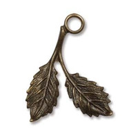 23X16MM BEECH LEAF VINTAJ NAT. BRASS
