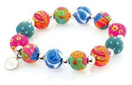 JILZARA Mosaic 12mm Stretch Bracelet Premium Clay Beads Pink Green Blue Orange