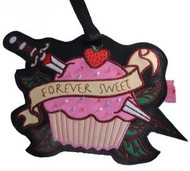 """""""Forever Sweet"""" Pink Cupcake Tattoo Luggage Tag"""