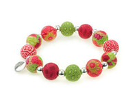 JILZARA Holiday Bracelet Red Green Premium Clay Beads Silverball 12mm