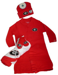 UGA Georgia Bulldogs Gift Set Infant Baby Gown Romper Hat Booties Blanket NCAA