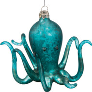 Coated glass beach-themed teal octopus ornament. Prettiest celepod on the tree!