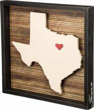 State Shape Wood Box Sign - Texas