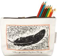 Follow your dreams, they know the way! Pencil case, makeup bag, travel bag.  Copper accents frame original block art.