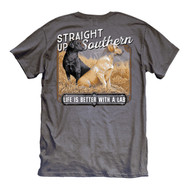 Life Is Better With A Lab! Charcoal Grey Tee from Straight Up Southern.