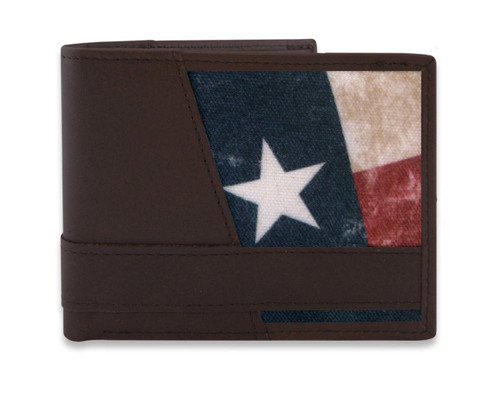 Texas State Flag Brown Leather Bi-Fold Wallet. Ships With Free Gift Tin!