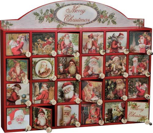 Merry Santas Christmas Countdown Wooden Advent Calendar