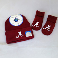 "Crimson Tide Newborn Gift Set includes knit cap and booties with script ""A"" logo"