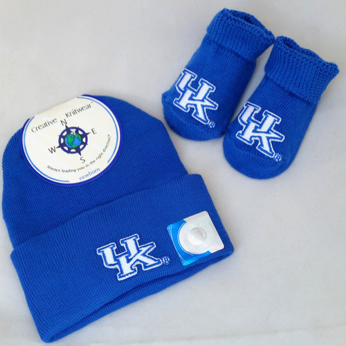 Wildcat's University of Kentucky Infant Gift Set from Creative Knitwear comes with booties and hat