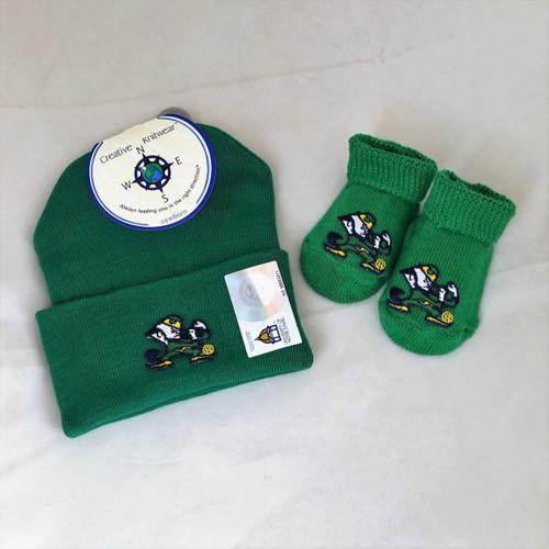 University of Notre Dame - Fighting Irish Logo Baby Gift Set: Booties and Cap