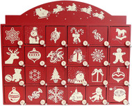 Vintage style wood advent box with santa and sleigh.  A decoration the family will treasure!