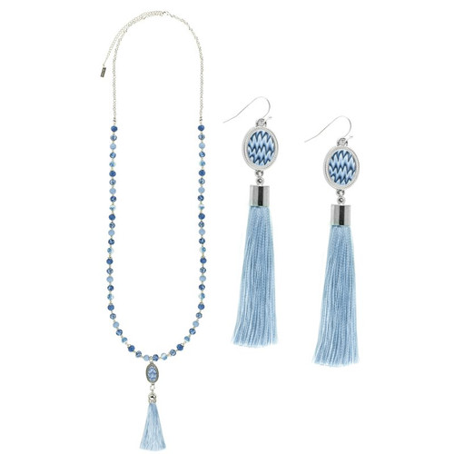 Porcelain Blue Tassel Necklace and Earrings from Jilzarah