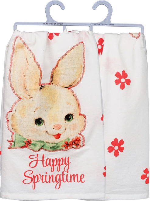 Happy Springtime Old Fashioned Easter Bunny Dish Towel from Primitives By Kathy