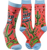 Primitives By Kathy - LOL Socks for men and women.  Too Hard to Handle Cactus design.