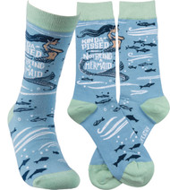 Kinda' Pissed About Not Being A Mermaid - Humorous novelty socks from Primitives By Kathy.  Soft Blue and green.