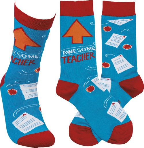 Let the teachers in your life know you are thankful for them! Awesome teacher socks from Primitives By Kathy