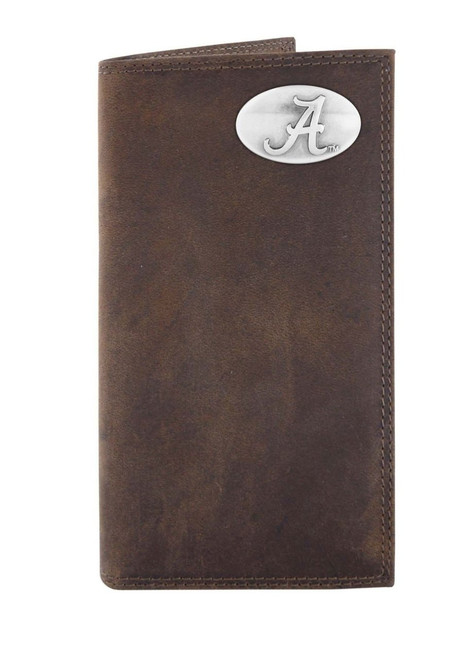 """Zep-Pro Crazy Horse Leather Roper Wallet With Metal Alabama """"A"""" Concho"""