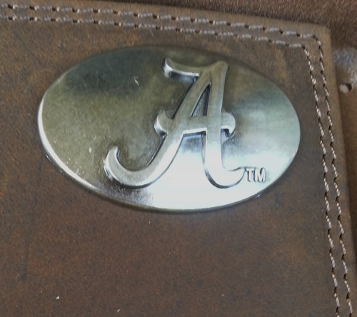 """ZEP-PRO's Crazy Horse Leather TRI-FOLD wallet with metal Alabama """"A"""" concho"""