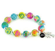 Jilzarah's colorful beaded resort stretch bracelet with palm tree charm