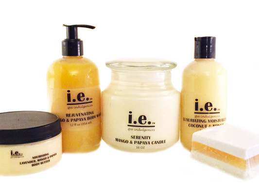 MY TIME GIFT SET:   This set consists of seven items including our Serenity Scented Candle 16 oz., Luxuriating Moisturizer 8 oz., Cleansing Soap 3.6 oz., Nourishing Body Butter 8 oz., Rejuvenating Body Wash 12 fl. oz., Nylon Pouf, and Scented Sachet Bag.  Suitable for women, children, and men.