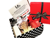BE GOOD TO YOURSELF GIFT BOX:  this gift box consists of 10 items packed in a gift box, and gift card.  Receive one each of the following items and she will not only enjoy for weeks to come but also have all she needs to create a special night!  (1) Dreamy Massage Candle (4 oz) (this special formulation, is a scented candle and a massage oil; some refer to it as a solid massage oil candle or spa candle. Made with natural soy wax and butters that are safe for the skin.  Customers receive either the MANGO & PAPAYA or MADAGASCAR & VANILLA in the gift box)  (1) Cleansing Soap (4 oz bars) (special POMEGRANATE scented embedded hearts, roses, teddy bears, or flowers in each bar.  Customers receive one of the following scents (PINEAPPLE & POMEGRANATE, SWEET ORANGE & POMEGRANATE, or POMEGRANATE) in the gift box.  (1) Nourishing Body Butter (4 oz) (special size for this gift box, customers receive MIDNIGHT POMEGRANATE or ISLAND NECTAR in the gift box)  (1) Balancing Dead Sea Salt Scrub (2 oz) (STRAWBERRIES AND CHAMPAGNE, made with rose kaolin clay and watermelon fruit extract)  (1) Hydrating Lip Balm (.15 ml) (MINT CHOCOLATE, made with cacao and peppermint flavor)  (1) Seductive Fragrance Oil (.15 ml.) (JUST FOR HER, this is a special IE Spa Indulgences blend which includes sweet orange, lavender, geranium, sandalwood & vanilla, lemon & eucalyptus, grapefruit, and hyacinth)  (1) Energizing Bath Bomb (ROSE GARDEN SCENT, our special heart shape, with rose kaolin clay, watermelon fruit extract, and red food coloring)  (1) Mini Nylon Pouf; (1) Mini Silver Spoon for Scrub; (1) Scented Sachet in a heart shaped organza bag with crushed roses (free with purchase of any gift set); (1) Gift Box; (1) Gift Card (free with purchase of any gift box)