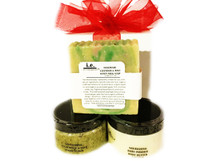 PURE JOY 4oz GIFT SET:  This set was put together for our customers to cleanse, exfoliate, and moisturize.  This gift set consists of 3 items, beautifully wrapped in an organza bag.  Receive one each of the following items:  (1) Nourishing Body Butter (4 oz); (1) Handmade Soap (Small or Medium oz); (1) Stimulating Sugar Scrub (4 oz).  Customers:  FOR EXTERNAL USE ONLY.  Click on the images for detailed descriptions for each item included in this pack.   See our other I.E. Spa Indulgences Gift Sets.  Although natural and organic ingredients are used, it is possible for customers with sensitive skin or allergies to have a reaction to scents or nut butters used.  Always do a skin test on the inside of your forearm to ensure you do not have an adverse reaction to the product.