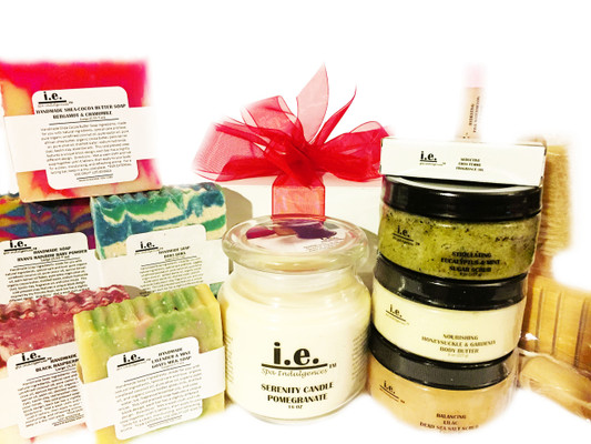 PRETTY PAMPERED GIFT SET:  These items are some of our customer's favorites to make you feel pampered all day, everyday!  Select your favorite scent or use this as an opportunity to sample a variety of scents.  Receive one each of the following items:  (1) Balancing Dead Sea Salt Scrub (8 oz) (Select one of our popular scents); (5) Handmade Soaps (Select one of our popular scents); (1) Hydrating Lip Balm (Select one of our popular scents); (1) Nourishing Body Butter (8 oz) (Select one of our popular scents);  (1) Seductive Fragrance Oil (.15ml) (Select one of our popular scents);  (1) Serenity Scented Candle (16 oz) (Select one of our popular scents);  (1) Stimulating Sugar Scrub (8 oz) (Select one of our popular scents); and (1) Bath Accessories.  Customers:  FOR EXTERNAL USE ONLY.  Click on the images for detailed descriptions for each item included in this pack.   See our other I.E. Spa Indulgences Gift Sets.  Although natural and organic ingredients are used, it is possible for customers with sensitive skin or allergies to have a reaction to scents or nut butters used.  Always do a skin test on the inside of your forearm to ensure you do not have an adverse reaction to the product.